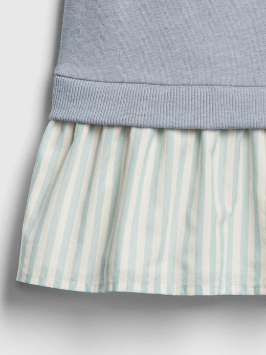 Kız Çocuk mavi Kumaş Kapüşonlu Elbise