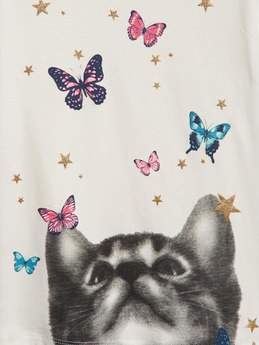 Grafik Parıltılı Kısa Kollu T-shirt