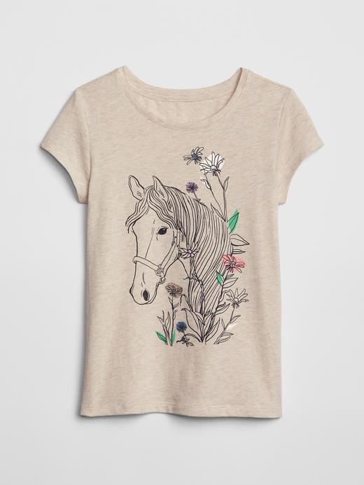 Kız Çocuk bej Grafik Desenli T-shirt