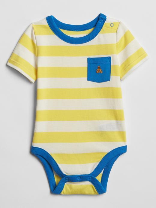 Bebek sarı Çizgili Kısa Kollu Body