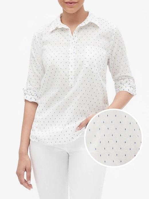 Kadın beyaz/mavi Baskılı Gömlek