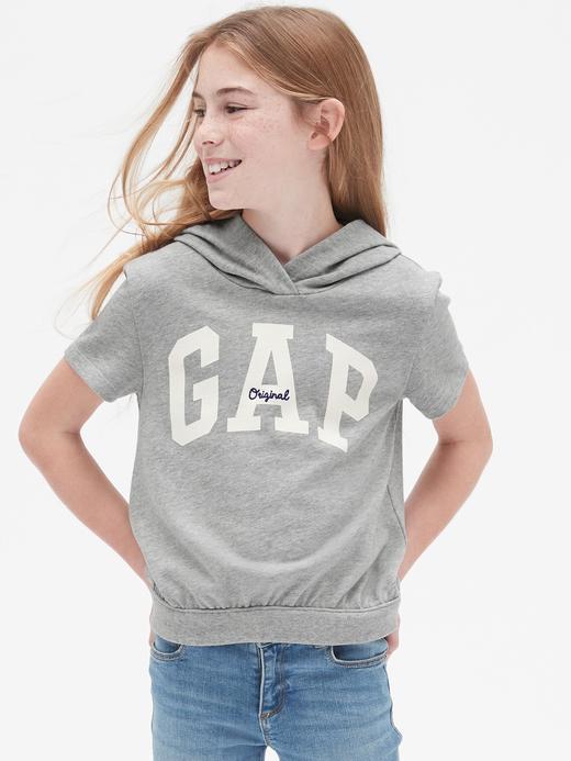Kız Çocuk gri Gap Logo Kısa Kollu Sweatshirt