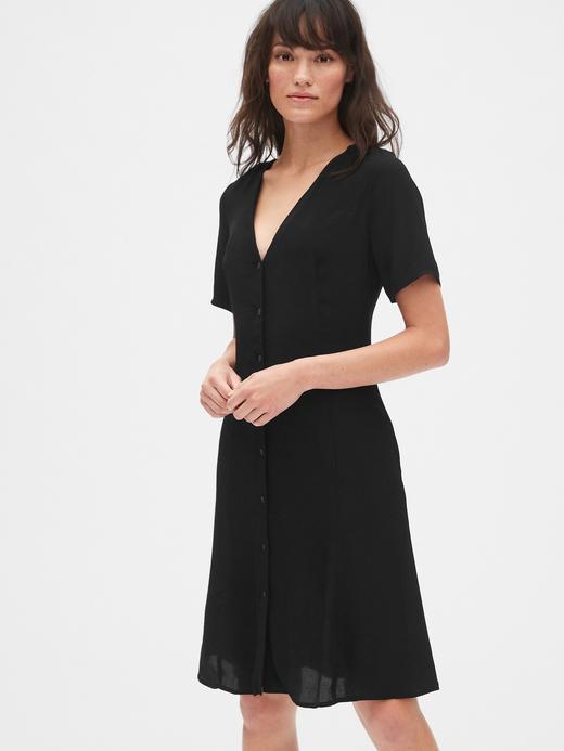 Önden Düğmeli Kısa Elbise