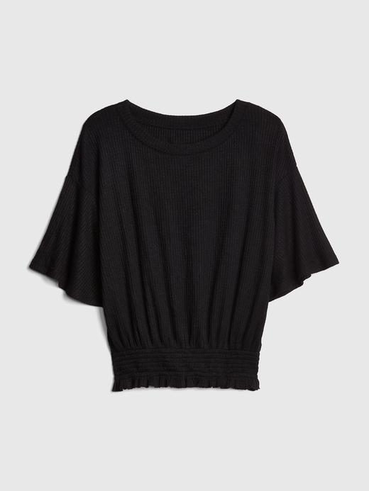 Kadın Beyaz Softspun Yarım Kollu Bluz