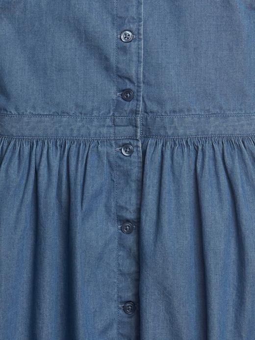 Bebek mavi Denim Önden Düğmeli Elbise