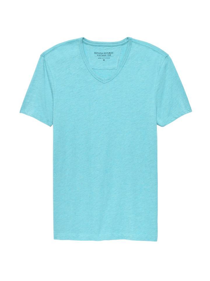 Erkek mavi Vintage Saf Pamuklu V Yaka T-Shirt