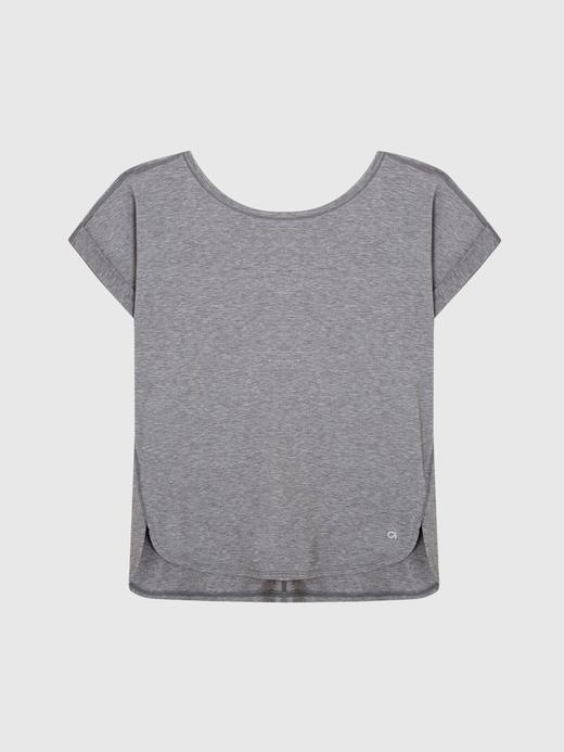Kadın kırçıllı gri GapFit Breathe Kısa Kollu T-Shirt