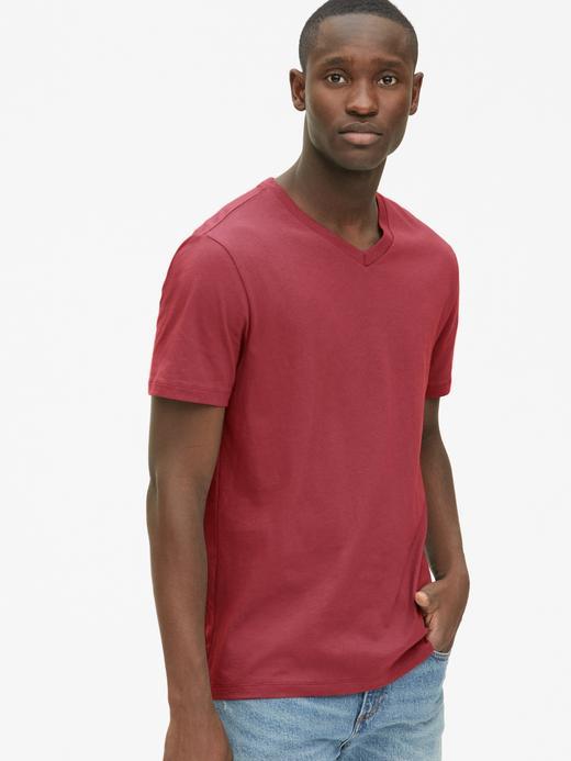 Erkek gül kurusu Erkek V Yaka T-shirt