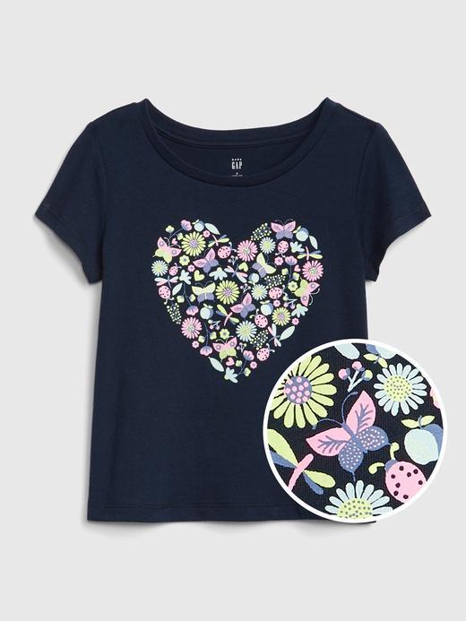 Bebek lacivert Grafik desenli kısa kollu t-shirt