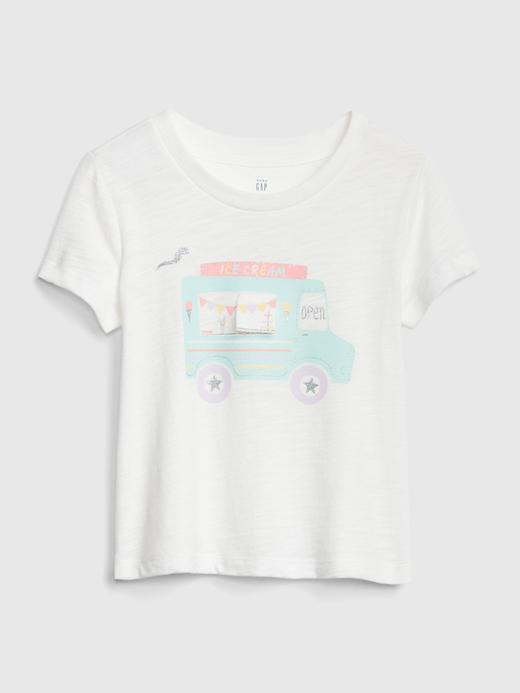 Bebek beyaz Grafik Kısa Kollu T-Shirt