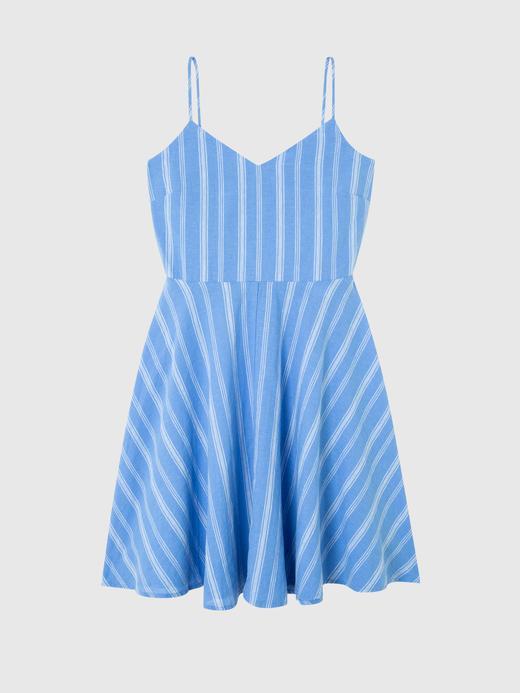 Kadın mavi çizgili Askılı Mini Elbise