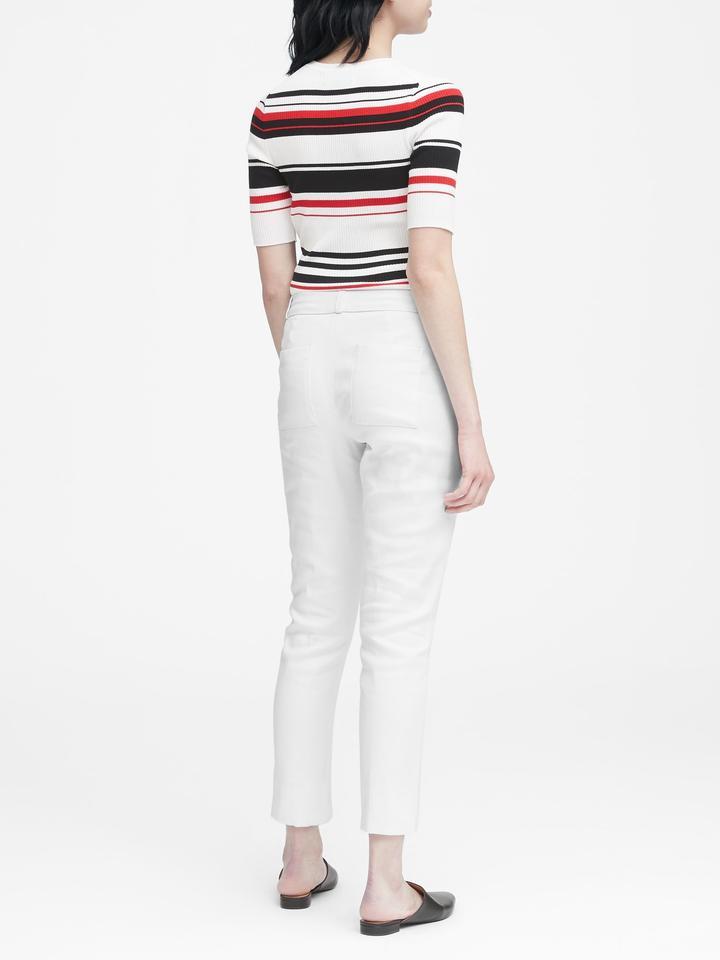Kadın beyaz Straight-Fit Keten-Pamuklu Pantolon