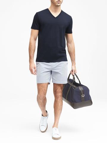 Erkek beyaz SUPIMA® Pamuklu V-Yaka T-Shirt
