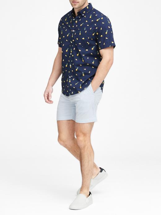 Slim-Fit Luxe Poplin Desenli Gömlek