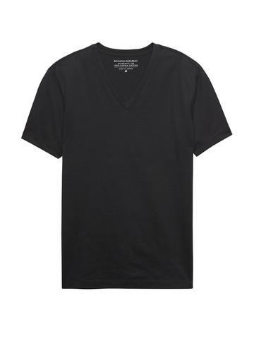 Erkek siyah Authentic SUPIMA® V-Yaka T-Shirt
