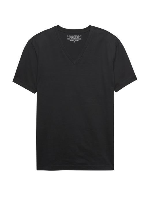 Erkek siyah SUPIMA® Pamuklu V-Yaka T-Shirt