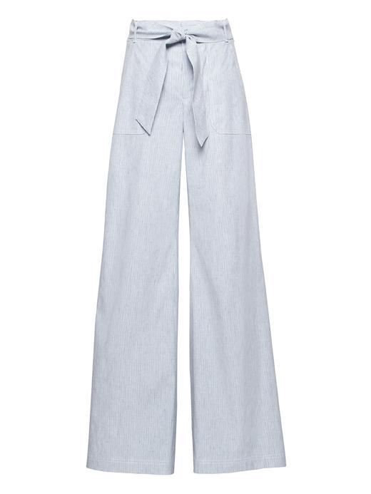 Kadın ince çizgili Yüksek Belli Wide-Leg Keten-Pamuklu Pantolon