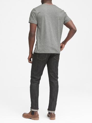 Erkek lacivert SUPIMA® Pamuklu Sıfır Yaka T-Shirt