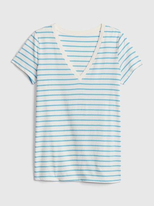 Çizgili Vintage V Yaka T-Shirt