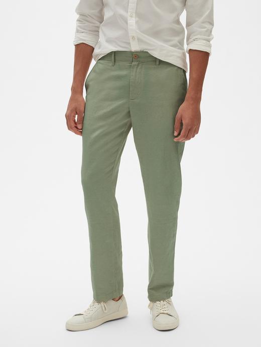 Erkek Yeşil Slim Fit Keten Pantolon