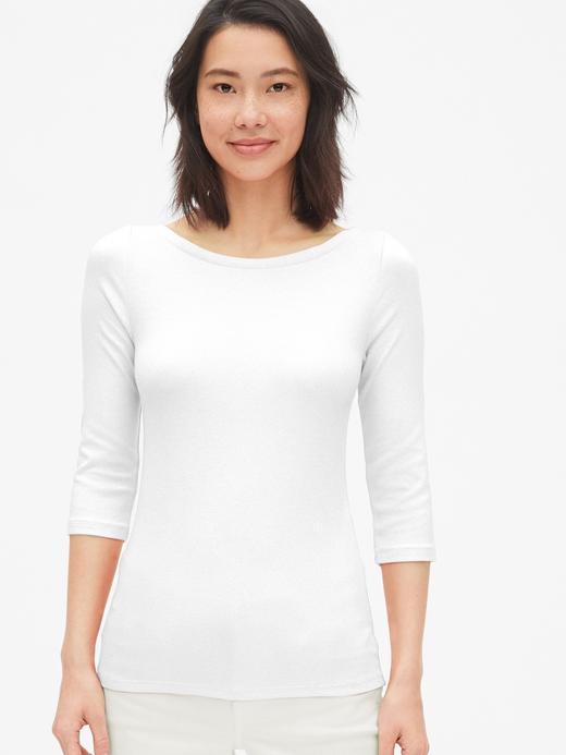 Kadın beyaz Kayık Yaka T-Shirt