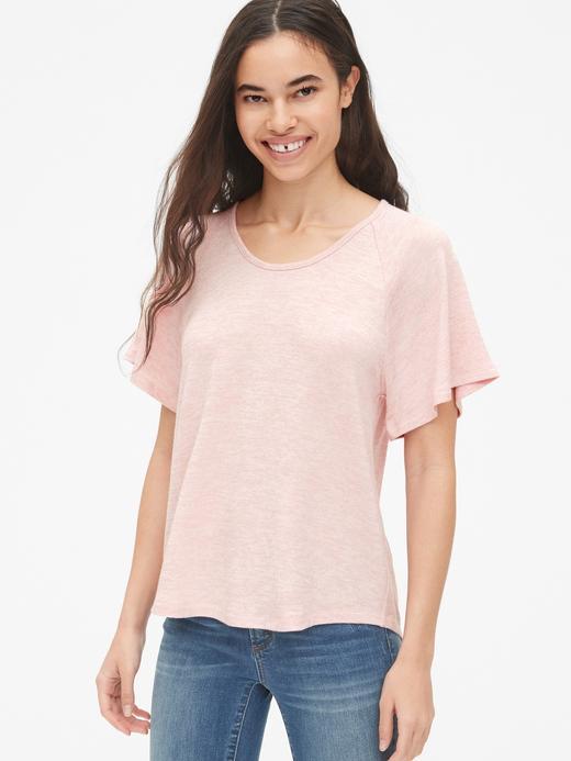 Kadın pembe Softspun Kolları Volanlı T-Shirt