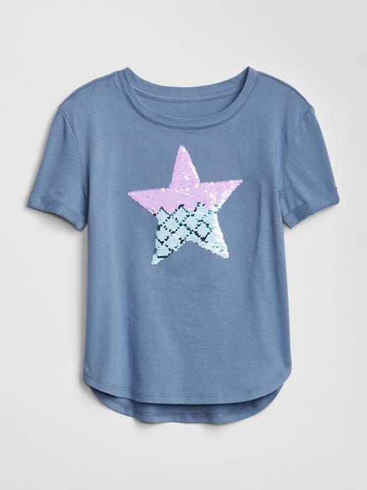 Kız Çocuk mavi Kız Çocuk Pullu Grafik Baskılı T-Shirt