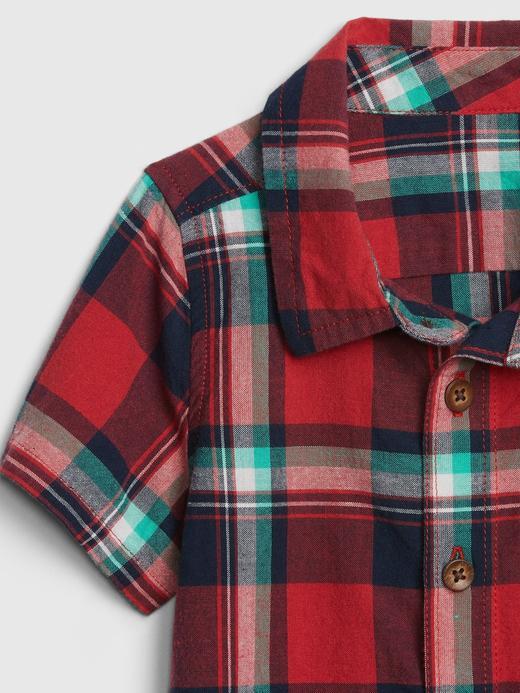 Erkek Bebek Ekose Kısa Kollu Gömlek