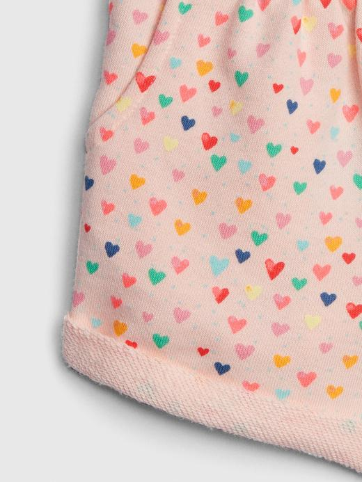 Bebek tozpembe Kız Bebek Kalp Desenli Şort