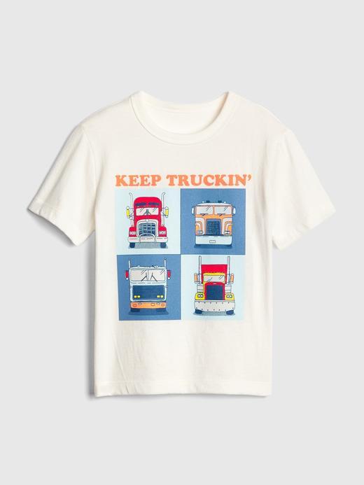 Bebek beyaz Erkek Bebek Grafik Kısa Kollu T-Shirt