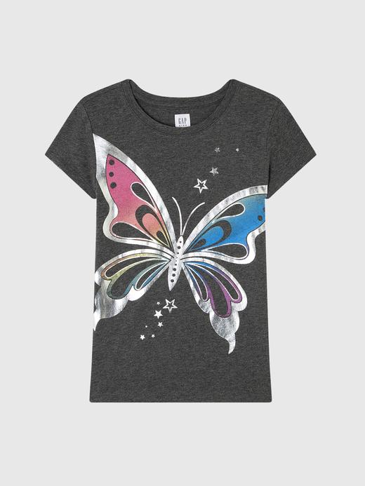 Kız Çocuk kelebek Grafik Kısa Kollu Tişört