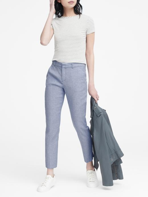 Avery Straight-Fit Keten ve Pamuk Karışımlı Pantolon