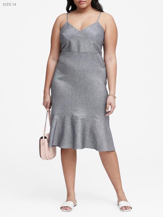 Keten-Pamuklu Midi Elbise
