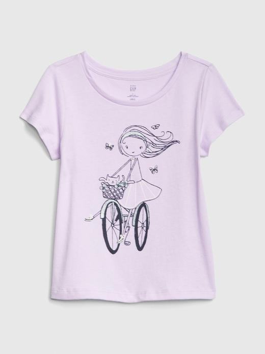 Bebek beyaz Kız Bebek Grafik Kısa Kollu T-Shirt