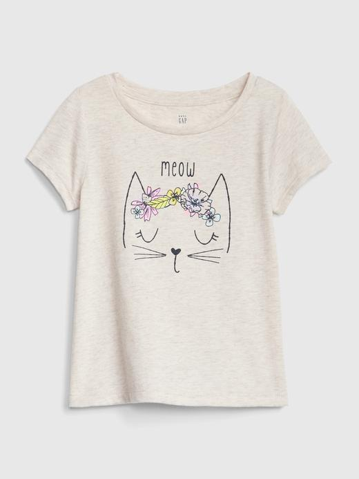 Bebek kedi Kız Bebek Grafik Kısa Kollu T-Shirt