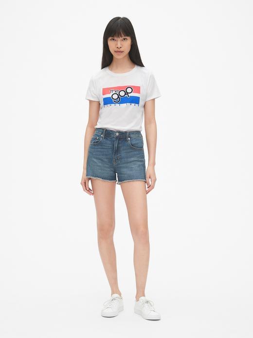 Kadın Gap Logo Grafik Sıfır Yaka T-Shirt