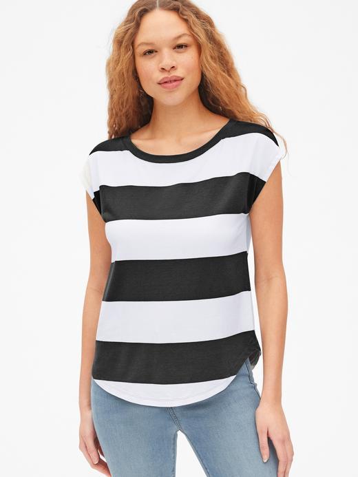 Kadın siyah-beyaz çizgili Kadın Çizgili Kolsuz T-Shirt