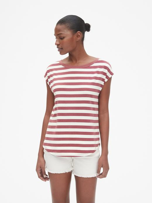 Kadın  Kadın Çizgili Kolsuz T-Shirt