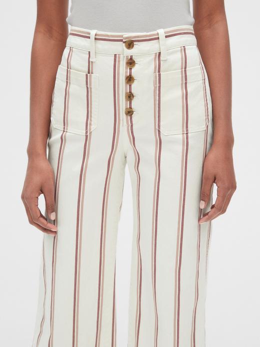 Kadın krem Kadın Yüksek Bel Çizgili Wide-Fit Pantolon