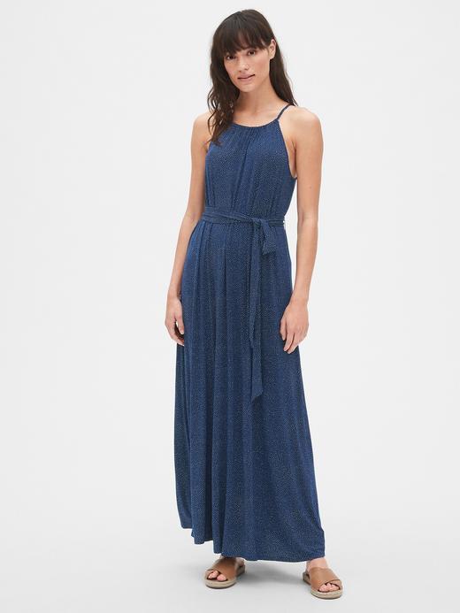 Kadın lacivert Kadın Halter Kesim Maxi Elbise