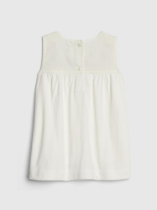 Bebek kırık beyaz Kız Bebek İşlemeli Kolsuz Bluz