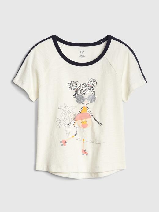 Bebek kız Kız Bebek Grafik Kısa Kollu T-Shirt