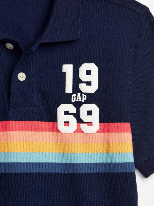 Erkek Çocuk gri Erkek Çocuk Gap Logo Polo T-Shirt