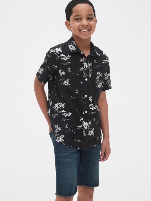Erkek Çocuk siyah desenli Erkek Çocuk Desenli Kısa Kollu Gömlek