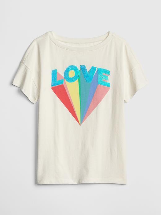 Kız Çocuk Pullu Kısa Kollu T-Shirt