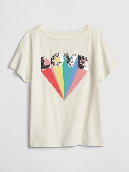 Kız Çocuk kırık beyaz Kız Çocuk Pullu Kısa Kollu T-Shirt