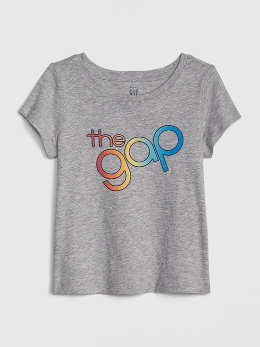Bebek Gri Kız Bebek Gap Logo Kısa Kollu T-Shirt