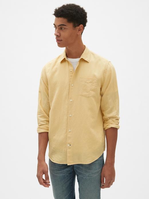 Erkek açık sarı Erkek Keten Standart Fit Gömlek
