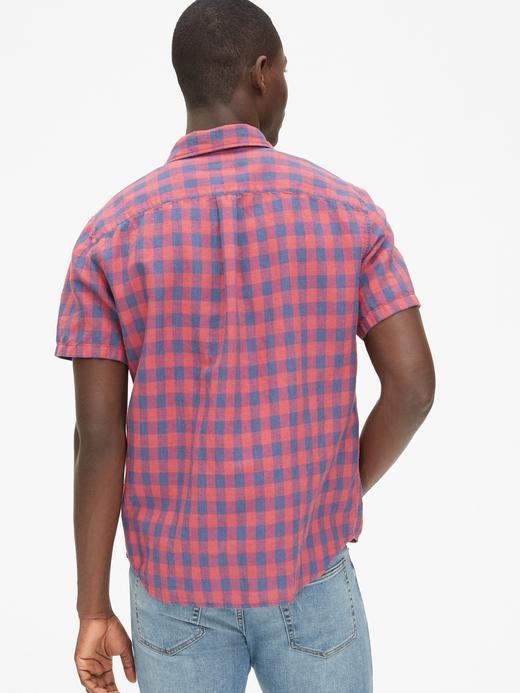 Pamuk-Keten Karışımı Kısa Kollu Gömlek