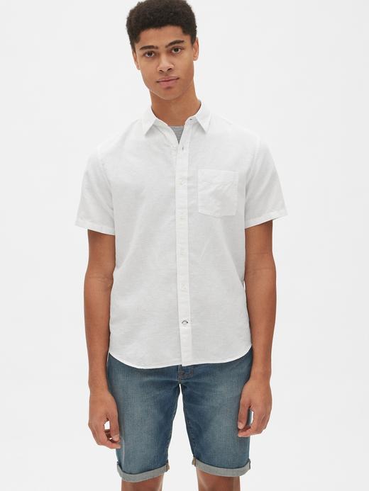 Erkek Pamuk-Keten Karışımı Kısa Kollu Gömlek